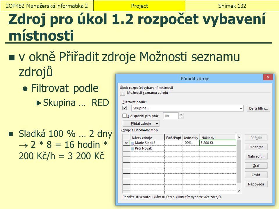 Zdroj pro úkol 1.2 rozpočet vybavení místnosti v okně Přiřadit zdroje Možnosti seznamu zdrojů Filtrovat podle  Skupina … RED Sladká 100 % … 2 dny  2