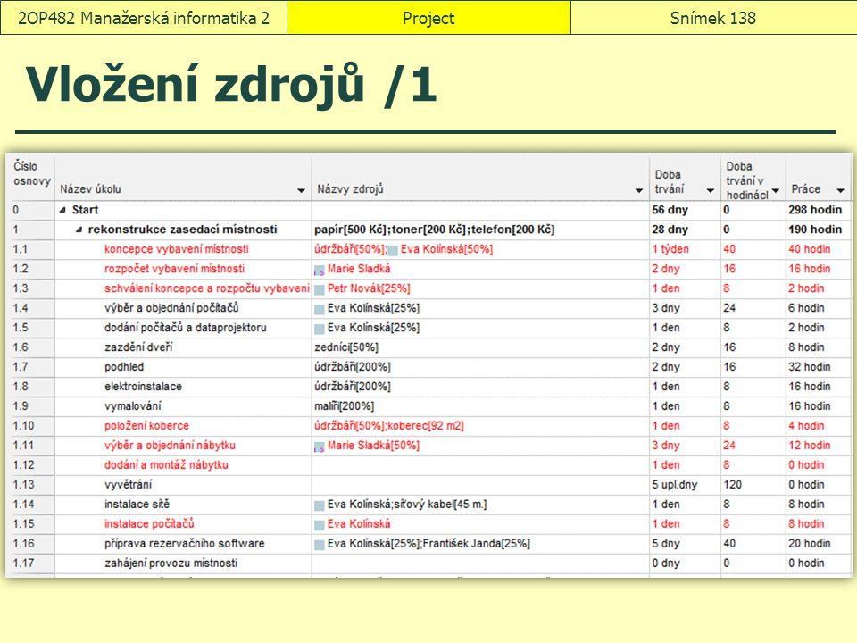 Vložení zdrojů /1 ProjectSnímek 1382OP482 Manažerská informatika 2