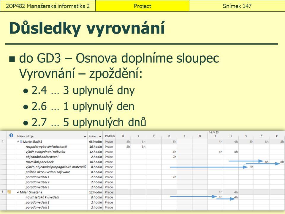 Důsledky vyrovnání do GD3 – Osnova doplníme sloupec Vyrovnání – zpoždění: 2.4 … 3 uplynulé dny 2.6 … 1 uplynulý den 2.7 … 5 uplynulých dnů ProjectSním