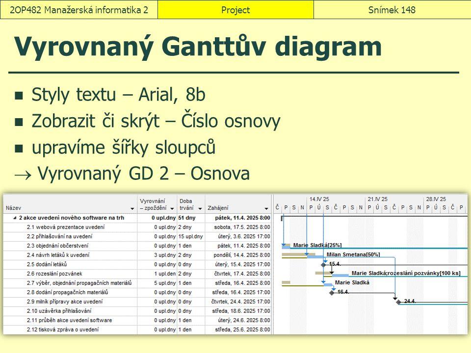 Vyrovnaný Ganttův diagram Styly textu – Arial, 8b Zobrazit či skrýt – Číslo osnovy upravíme šířky sloupců  Vyrovnaný GD 2 – Osnova ProjectSnímek 1482