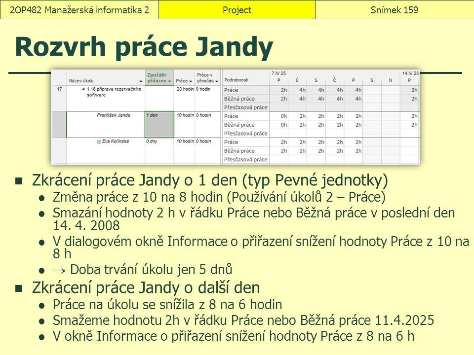 ProjectSnímek 1592OP482 Manažerská informatika 2 Rozvrh práce Jandy Zkrácení práce Jandy o 1 den (typ Pevné jednotky) Změna práce z 10 na 8 hodin (Pou