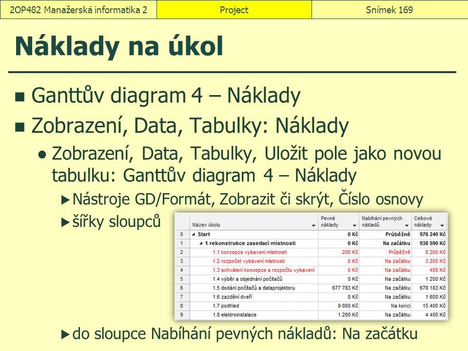 Náklady na úkol Ganttův diagram 4 – Náklady Zobrazení, Data, Tabulky: Náklady Zobrazení, Data, Tabulky, Uložit pole jako novou tabulku: Ganttův diagra