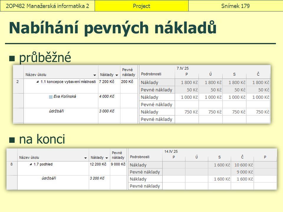 Nabíhání pevných nákladů průběžné na konci ProjectSnímek 1792OP482 Manažerská informatika 2