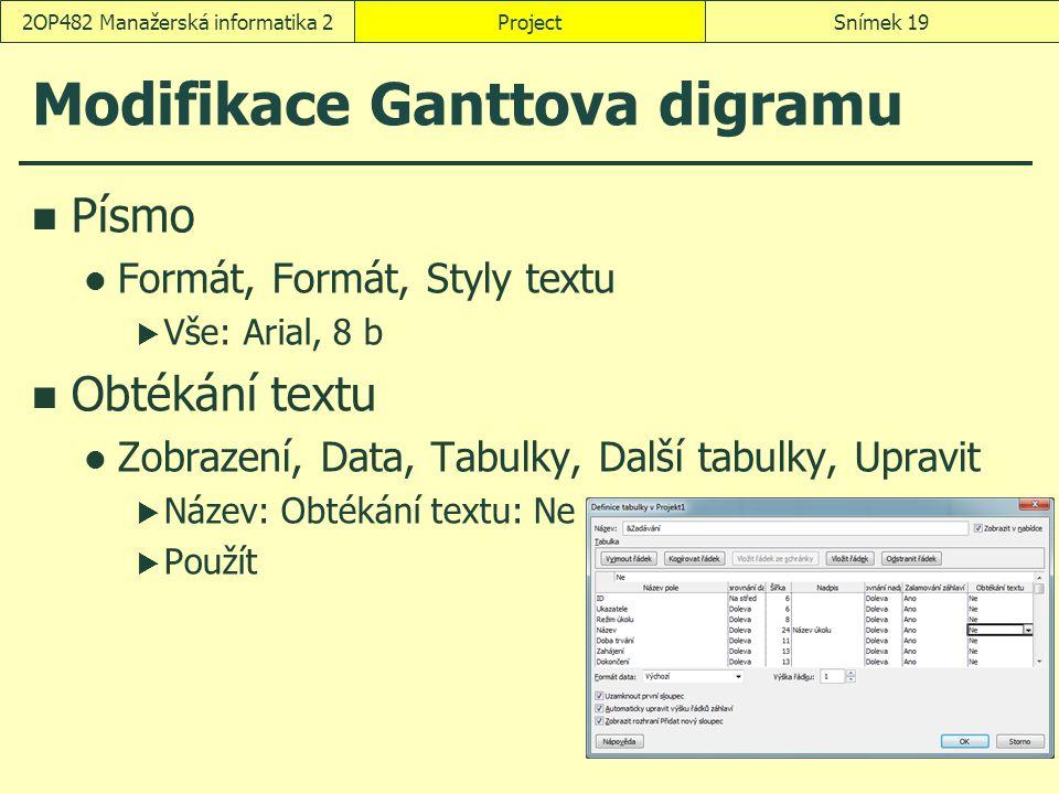 Modifikace Ganttova digramu Písmo Formát, Formát, Styly textu  Vše: Arial, 8 b Obtékání textu Zobrazení, Data, Tabulky, Další tabulky, Upravit  Náze