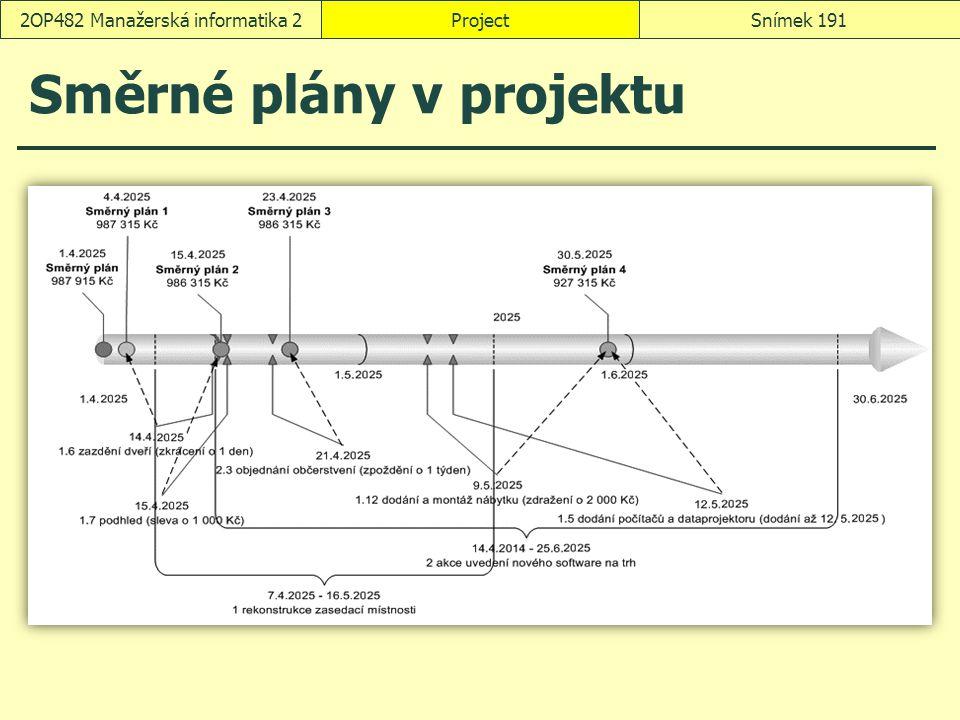 Směrné plány v projektu ProjectSnímek 1912OP482 Manažerská informatika 2
