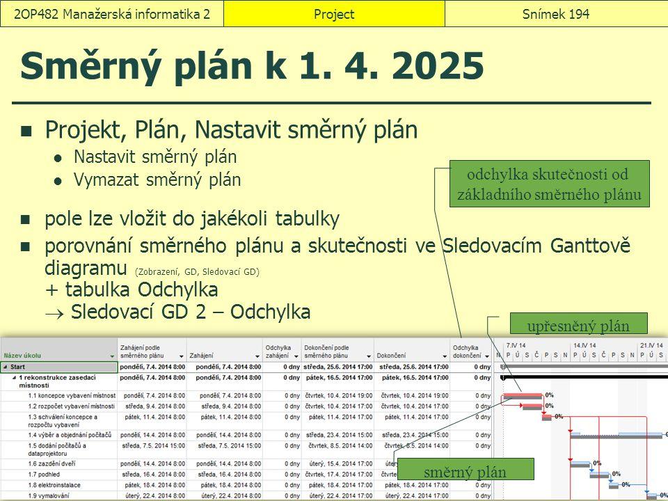 Směrný plán k 1. 4. 2025 Projekt, Plán, Nastavit směrný plán Nastavit směrný plán Vymazat směrný plán pole lze vložit do jakékoli tabulky porovnání sm