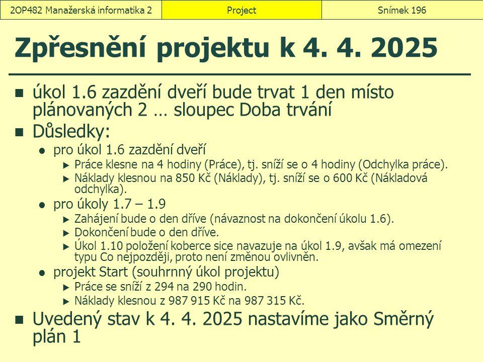 Zpřesnění projektu k 4. 4. 2025 úkol 1.6 zazdění dveří bude trvat 1 den místo plánovaných 2 … sloupec Doba trvání Důsledky: pro úkol 1.6 zazdění dveří