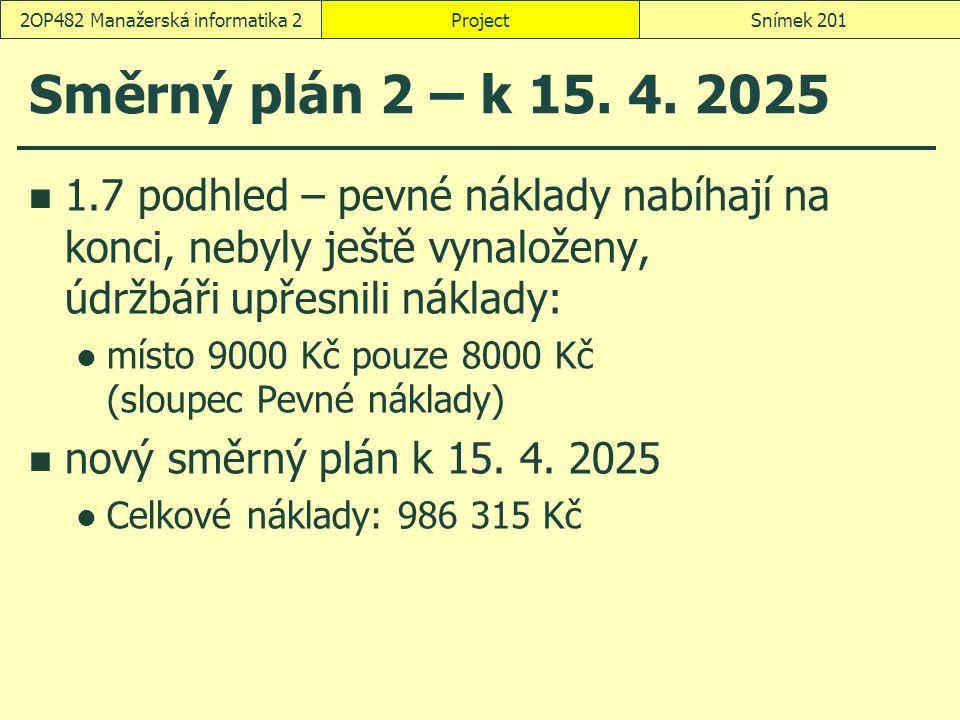 Směrný plán 2 – k 15. 4. 2025 1.7 podhled – pevné náklady nabíhají na konci, nebyly ještě vynaloženy, údržbáři upřesnili náklady: místo 9000 Kč pouze