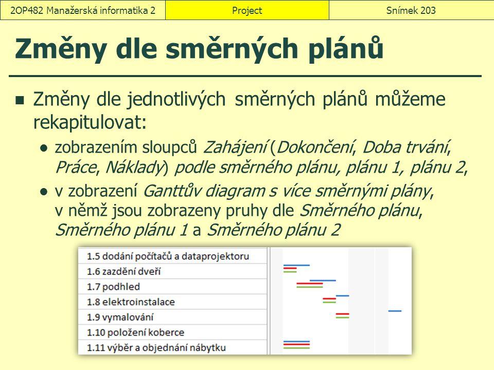 Změny dle směrných plánů ProjectSnímek 2032OP482 Manažerská informatika 2 Změny dle jednotlivých směrných plánů můžeme rekapitulovat: zobrazením sloup