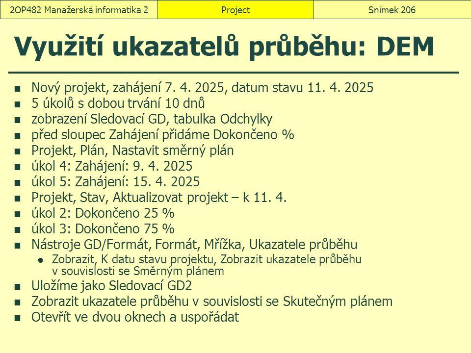 Využití ukazatelů průběhu: DEM Nový projekt, zahájení 7. 4. 2025, datum stavu 11. 4. 2025 5 úkolů s dobou trvání 10 dnů zobrazení Sledovací GD, tabulk