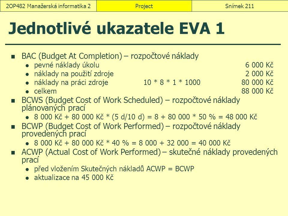 Jednotlivé ukazatele EVA 1 ProjectSnímek 2112OP482 Manažerská informatika 2 BAC (Budget At Completion) – rozpočtové náklady pevné náklady úkolu6 000 K