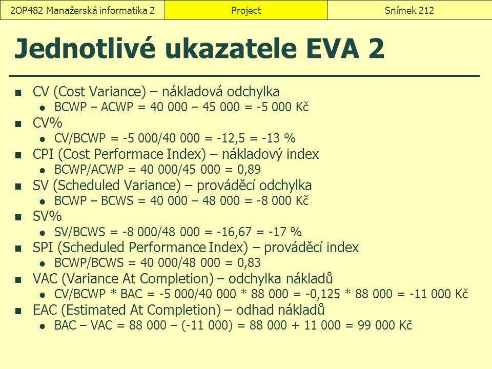Jednotlivé ukazatele EVA 2 CV (Cost Variance) – nákladová odchylka BCWP – ACWP = 40 000 – 45 000 = -5 000 Kč CV% CV/BCWP = -5 000/40 000 = -12,5 = -13