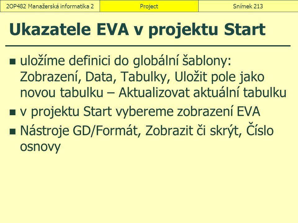 Ukazatele EVA v projektu Start uložíme definici do globální šablony: Zobrazení, Data, Tabulky, Uložit pole jako novou tabulku – Aktualizovat aktuální