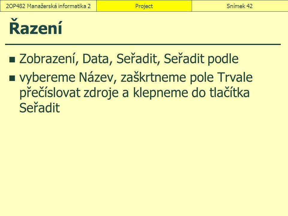 Řazení Zobrazení, Data, Seřadit, Seřadit podle vybereme Název, zaškrtneme pole Trvale přečíslovat zdroje a klepneme do tlačítka Seřadit ProjectSnímek