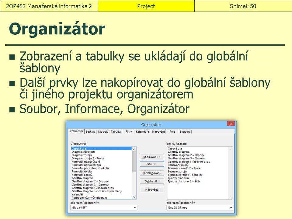 Organizátor Zobrazení a tabulky se ukládají do globální šablony Další prvky lze nakopírovat do globální šablony či jiného projektu organizátorem Soubo