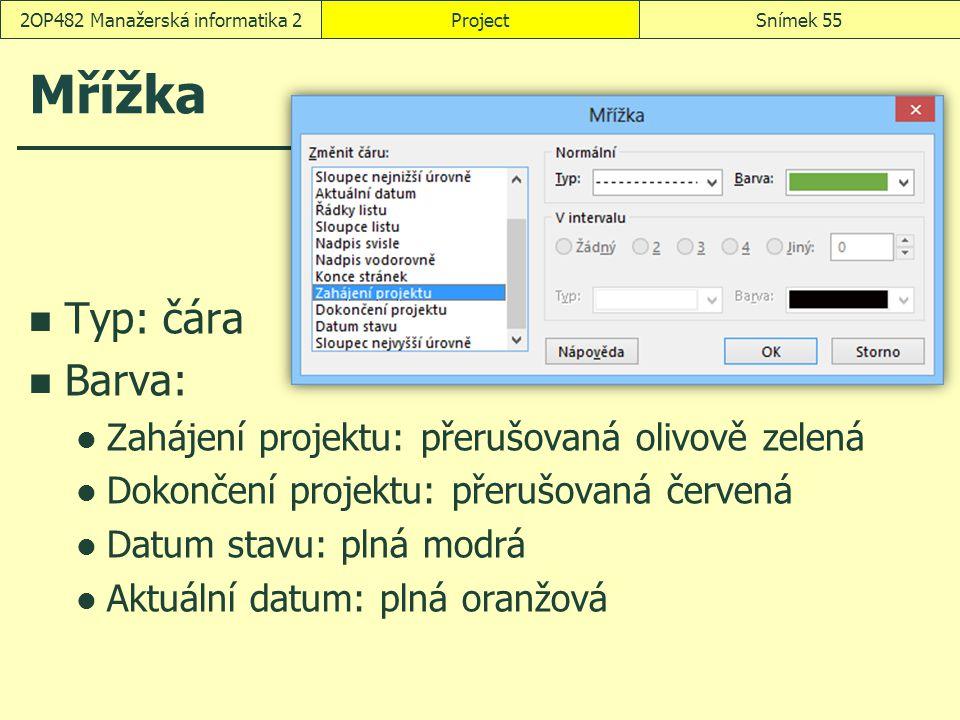 Mřížka Typ: čára Barva: Zahájení projektu: přerušovaná olivově zelená Dokončení projektu: přerušovaná červená Datum stavu: plná modrá Aktuální datum: