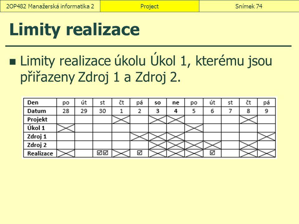 Limity realizace Limity realizace úkolu Úkol 1, kterému jsou přiřazeny Zdroj 1 a Zdroj 2. ProjectSnímek 742OP482 Manažerská informatika 2