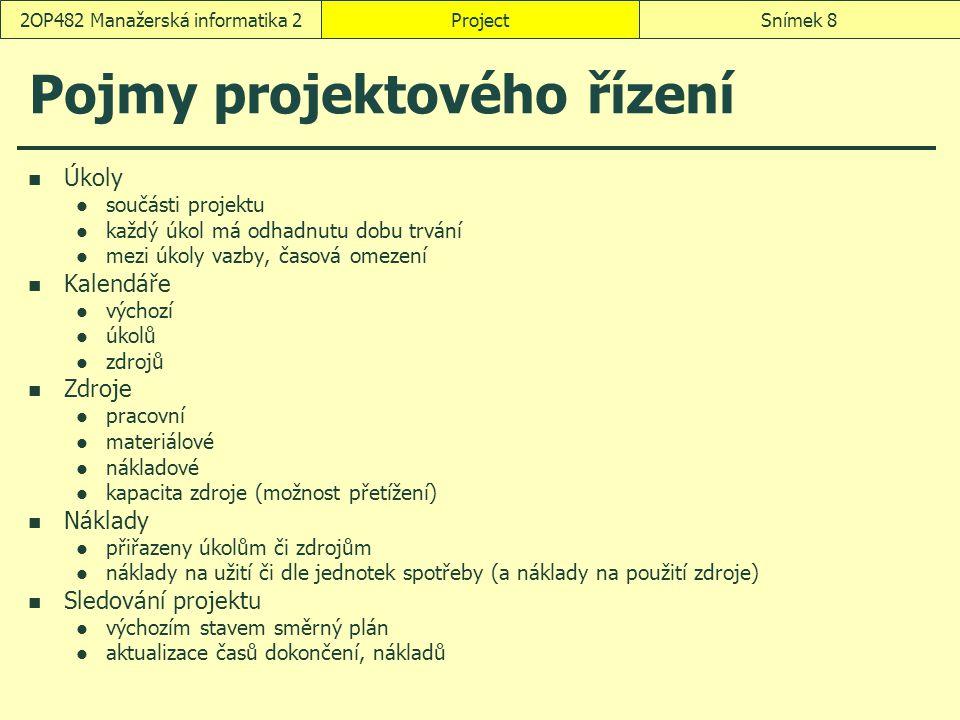 ProjectSnímek 82OP482 Manažerská informatika 2 Pojmy projektového řízení Úkoly součásti projektu každý úkol má odhadnutu dobu trvání mezi úkoly vazby,