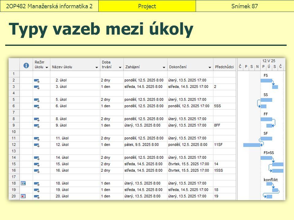 ProjectSnímek 872OP482 Manažerská informatika 2 Typy vazeb mezi úkoly