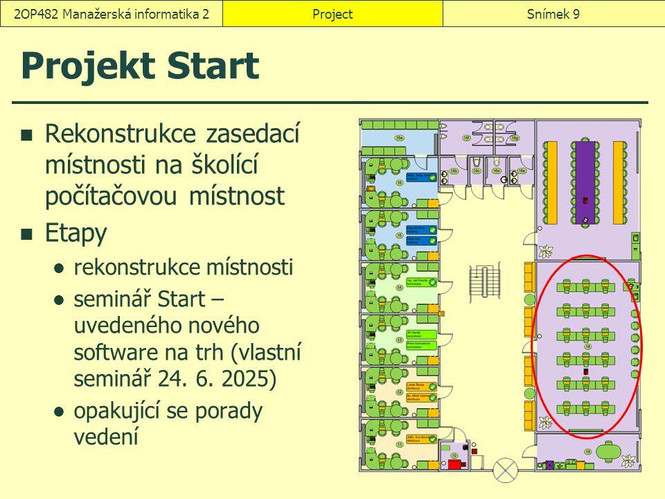 ProjectSnímek 92OP482 Manažerská informatika 2 Projekt Start Rekonstrukce zasedací místnosti na školící počítačovou místnost Etapy rekonstrukce místno