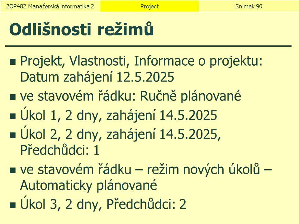 Odlišnosti režimů Projekt, Vlastnosti, Informace o projektu: Datum zahájení 12.5.2025 ve stavovém řádku: Ručně plánované Úkol 1, 2 dny, zahájení 14.5.