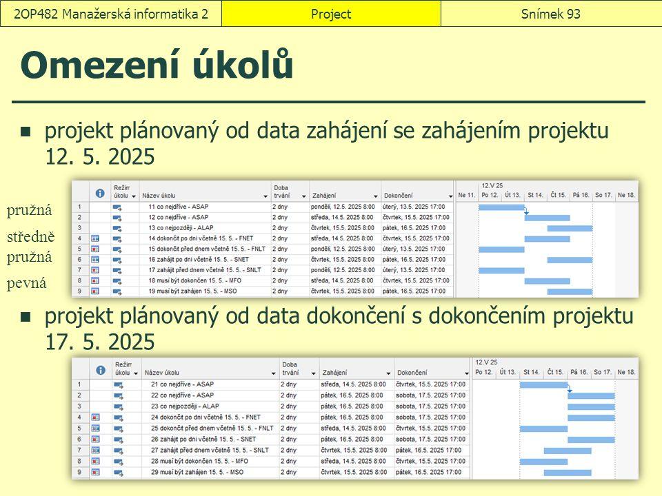 ProjectSnímek 932OP482 Manažerská informatika 2 Omezení úkolů projekt plánovaný od data zahájení se zahájením projektu 12. 5. 2025 projekt plánovaný o