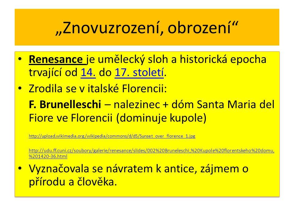 Renesanční architektura Řecké sloupové řády – dórský, jónský, korintský http://cs.wikipedia.org/wiki/Soubor:Classical_orders_from_the_Encyclopedie.png http://cs.wikipedia.org/wiki/Soubor:Classical_orders_from_the_Encyclopedie.png Římská arkáda - oblouky na pilířích, podloubí http://udu.ff.cuni.cz/soubory/galerie/renesance/slides/001%20Bruneleschi,%20Nalezinec%20ve%20Florencii,%201419- 1424.html http://udu.ff.cuni.cz/soubory/galerie/renesance/slides/001%20Bruneleschi,%20Nalezinec%20ve%20Florencii,%201419- 1424.html Atika - dekorativní prvek, prodlužuje fasádu budovy nad hlavní římsu, takže opticky zvyšuje budovu (částečně zakrývá střechu, vlaštovčí ocasy) http://web2.mmhk.cz/cdhk/data/cz_part01_lite/kanovnicke_domy.htm