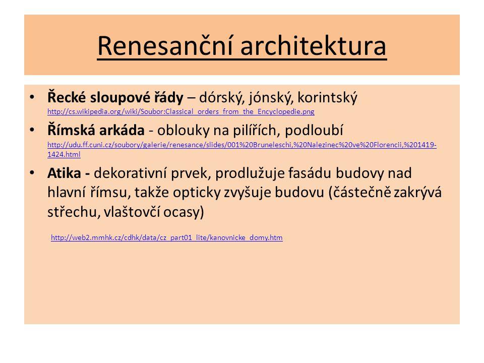 Renesanční architektura Řecké sloupové řády – dórský, jónský, korintský http://cs.wikipedia.org/wiki/Soubor:Classical_orders_from_the_Encyclopedie.png