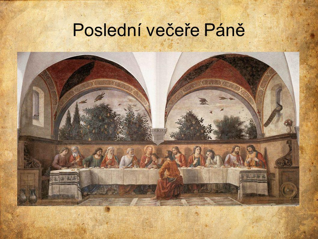 Porovnání s Leonardovým dílem  Postavy:  méně gest, chybí emoce  nechybí zde stíny postav  každá postava působí klidně, žádné výrazné emoce  Jidáš:  sedí na opačné straně stolu (naproti Ježíši)  tmavé, černé vlasy –> symbol zlých úmyslů Pozadí:  oproti Leonardovu obrazu, více výrazné/propracované (zapojení fauny a flory)  pohled na stromy, napravo páv na okenním parapetu, na obloze zachyceni ptáci v letu Stůl:  vše má svůj řád/uspořádanost  prostřen bílým ubrusem s vyšíváním  před každou postavou pečlivě uspořádané příbory, karafy, sklenice, třešně, chléb
