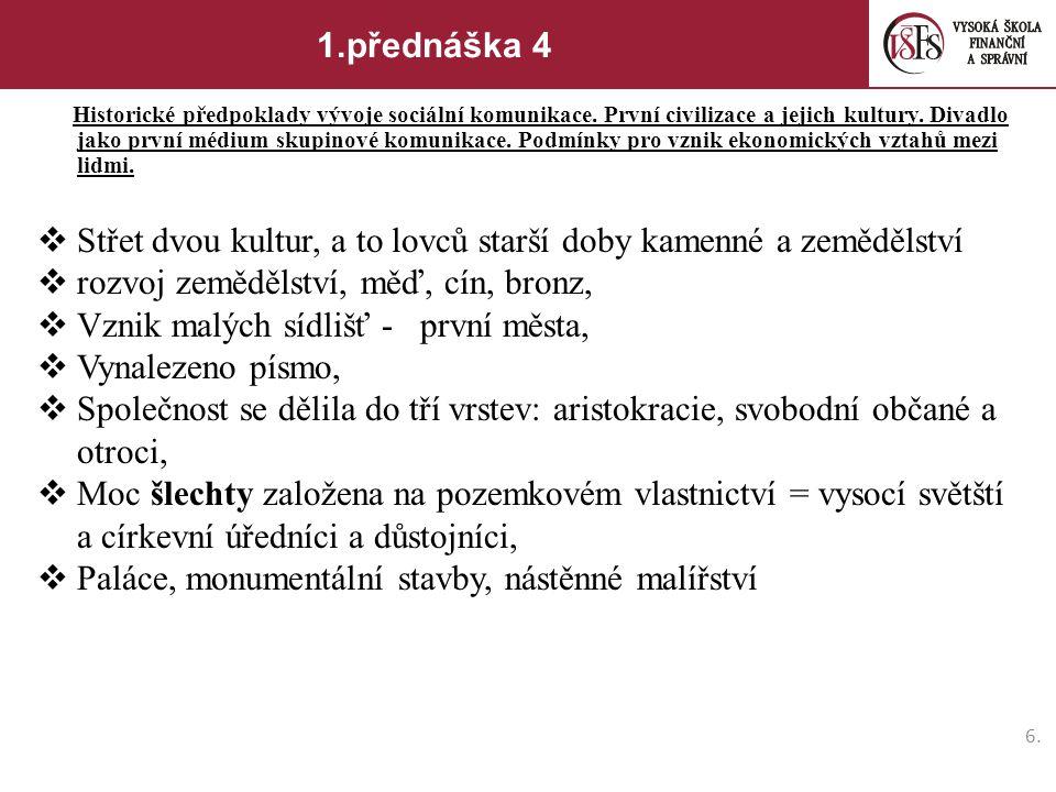 6.6.1.přednáška 4 Historické předpoklady vývoje sociální komunikace.