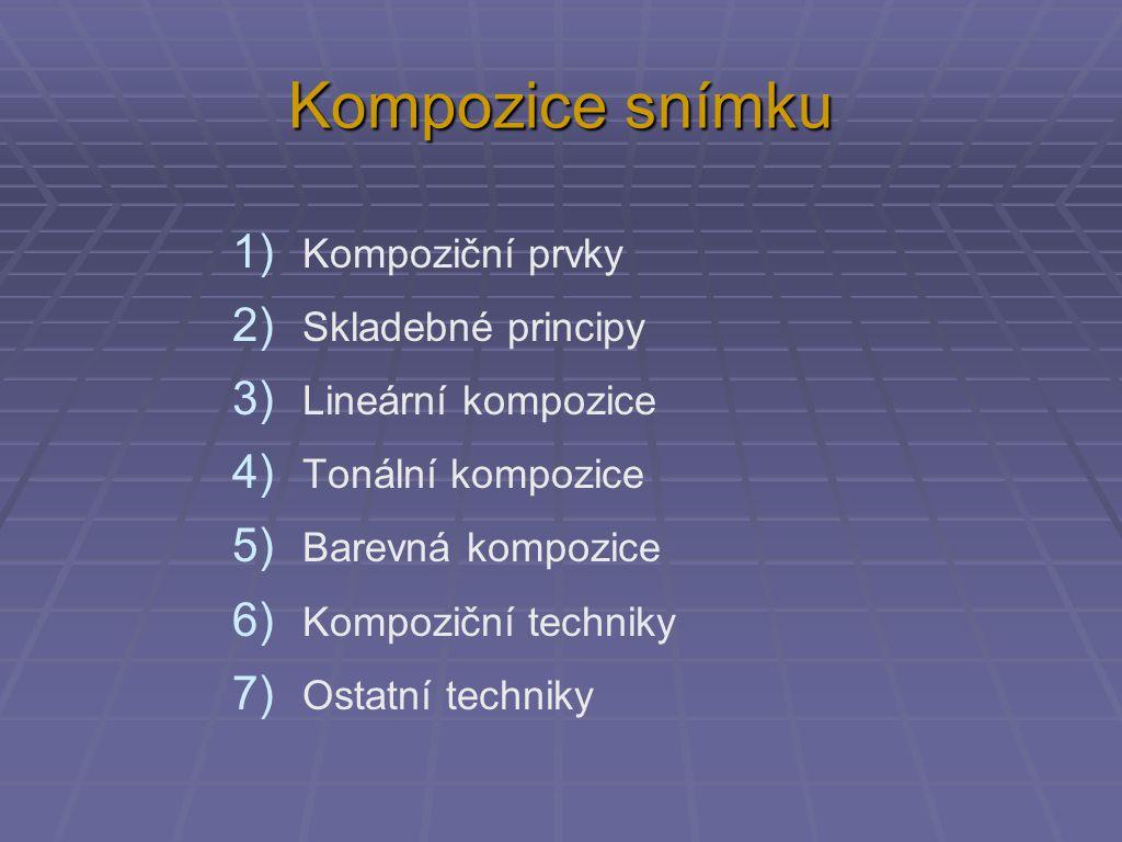 Kompozice snímku 1) Kompoziční prvky 2) Skladebné principy 3) Lineární kompozice 4) Tonální kompozice 5) Barevná kompozice 6) Kompoziční techniky 7) Ostatní techniky