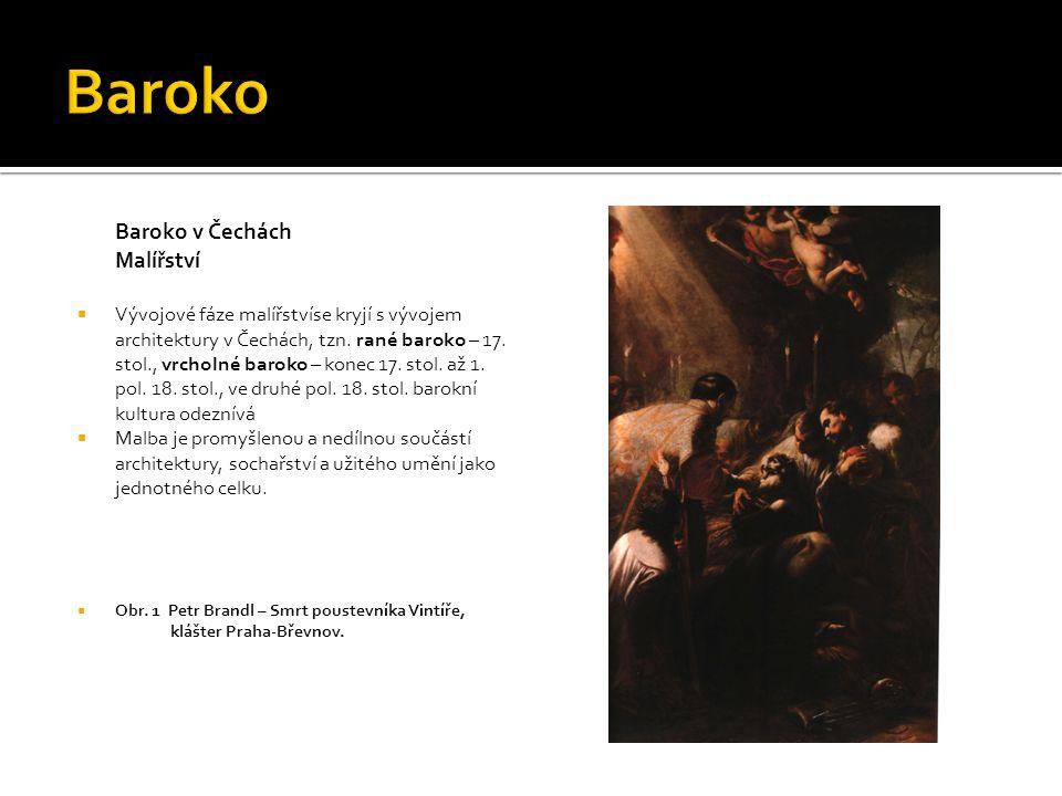Baroko v Čechách Malířství Rané baroko  V rané fázi vývoje barokního malířství se především uplatňuje barokní realismus Karel Škréta (1610 – 1674)  pobělohorský emigrant, pobyt v Itálii --- vstřebávání různých vlivů --- benátská škola (barva), Michelangelo (plasticita lidské figury, monumentalita), Lorrain a Poussin (klasicismus), Carravaggio (šerosvit, realismus)  1635 – návrat do Prahy (konverze), vedení velmi početné a úspěšné malířské dílny  konverze – přestoupení ke katolicismu  Obr.