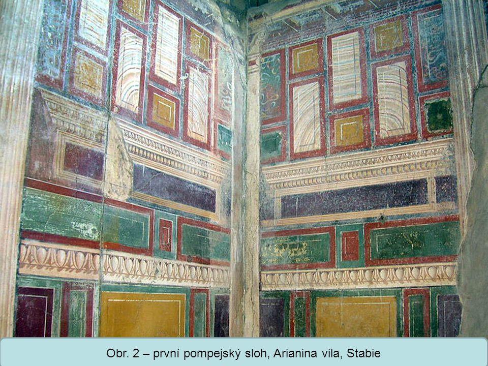 Střední škola Oselce Obr. 3 – první pompejský sloh, detail, Casa Sannitica, Herculaneum