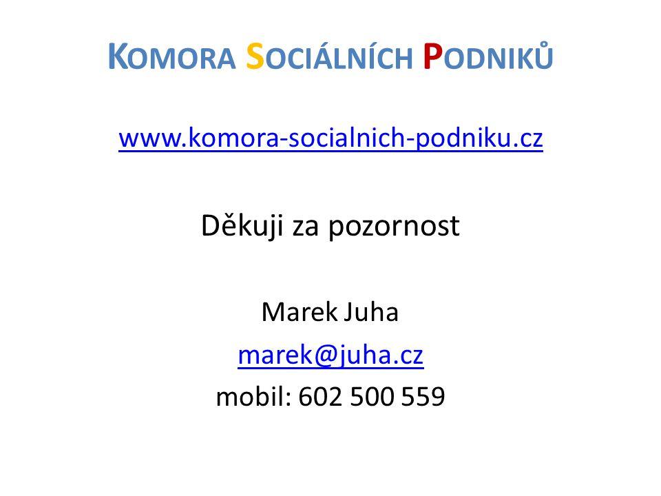 K OMORA S OCIÁLNÍCH P ODNIKŮ www.komora-socialnich-podniku.cz Děkuji za pozornost Marek Juha marek@juha.cz mobil: 602 500 559