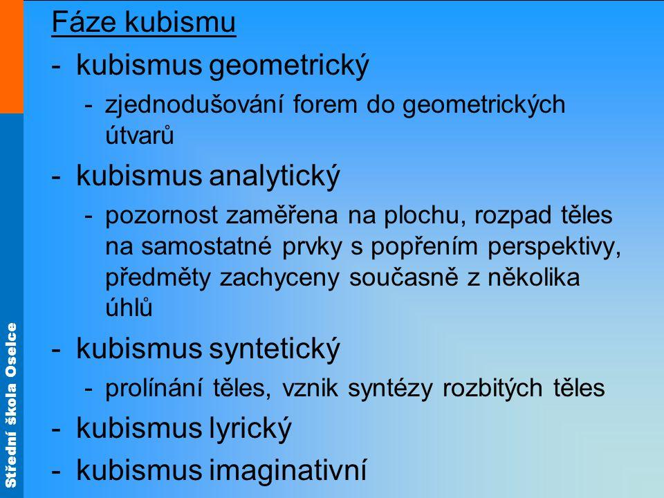 Střední škola Oselce Fáze kubismu -kubismus geometrický -zjednodušování forem do geometrických útvarů -kubismus analytický -pozornost zaměřena na plochu, rozpad těles na samostatné prvky s popřením perspektivy, předměty zachyceny současně z několika úhlů -kubismus syntetický -prolínání těles, vznik syntézy rozbitých těles -kubismus lyrický -kubismus imaginativní