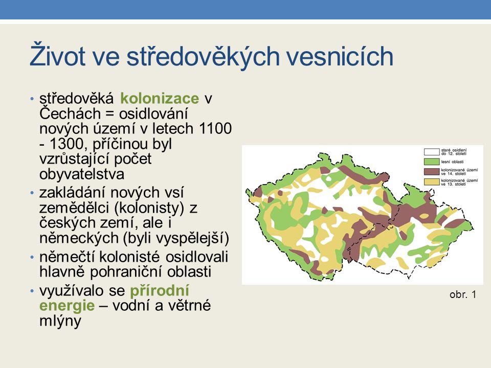 Život ve středověkých vesnicích středověká kolonizace v Čechách = osidlování nových území v letech 1100 - 1300, příčinou byl vzrůstající počet obyvate