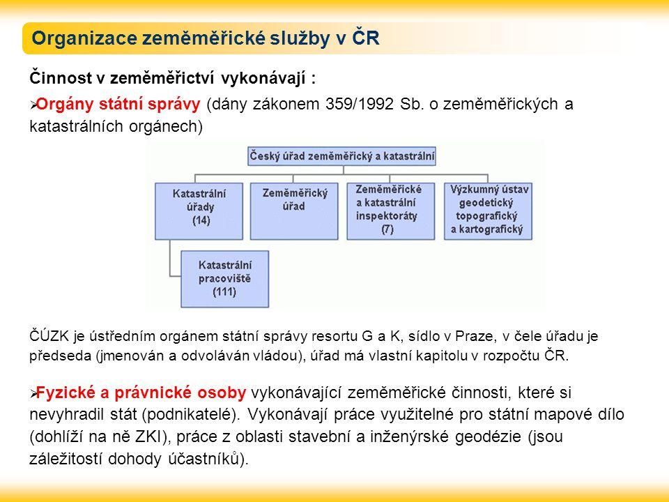 Organizace zeměměřické služby v ČR Činnost v zeměměřictví vykonávají :  Orgány státní správy (dány zákonem 359/1992 Sb. o zeměměřických a katastrální