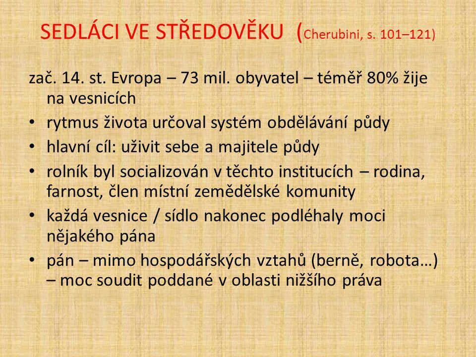 SEDLÁCI VE STŘEDOVĚKU ( Cherubini, s. 101–121) zač. 14. st. Evropa – 73 mil. obyvatel – téměř 80% žije na vesnicích rytmus života určoval systém obděl