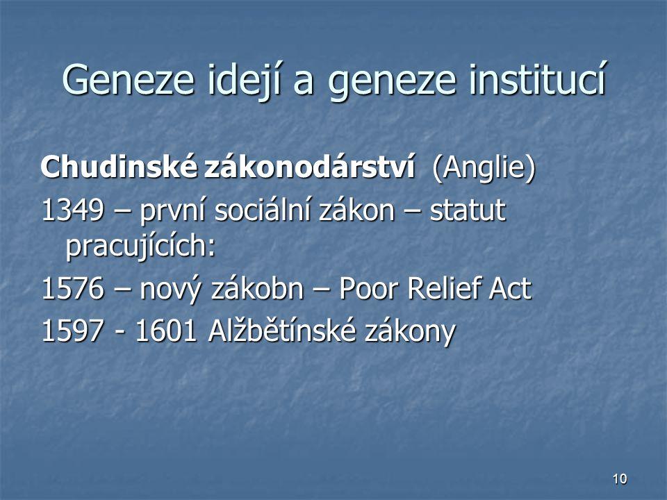 10 Geneze idejí a geneze institucí Chudinské zákonodárství (Anglie) 1349 – první sociální zákon – statut pracujících: 1576 – nový zákobn – Poor Relief