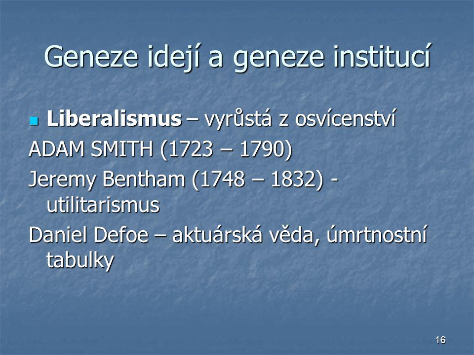 16 Geneze idejí a geneze institucí Liberalismus – vyrůstá z osvícenství Liberalismus – vyrůstá z osvícenství ADAM SMITH (1723 – 1790) Jeremy Bentham (