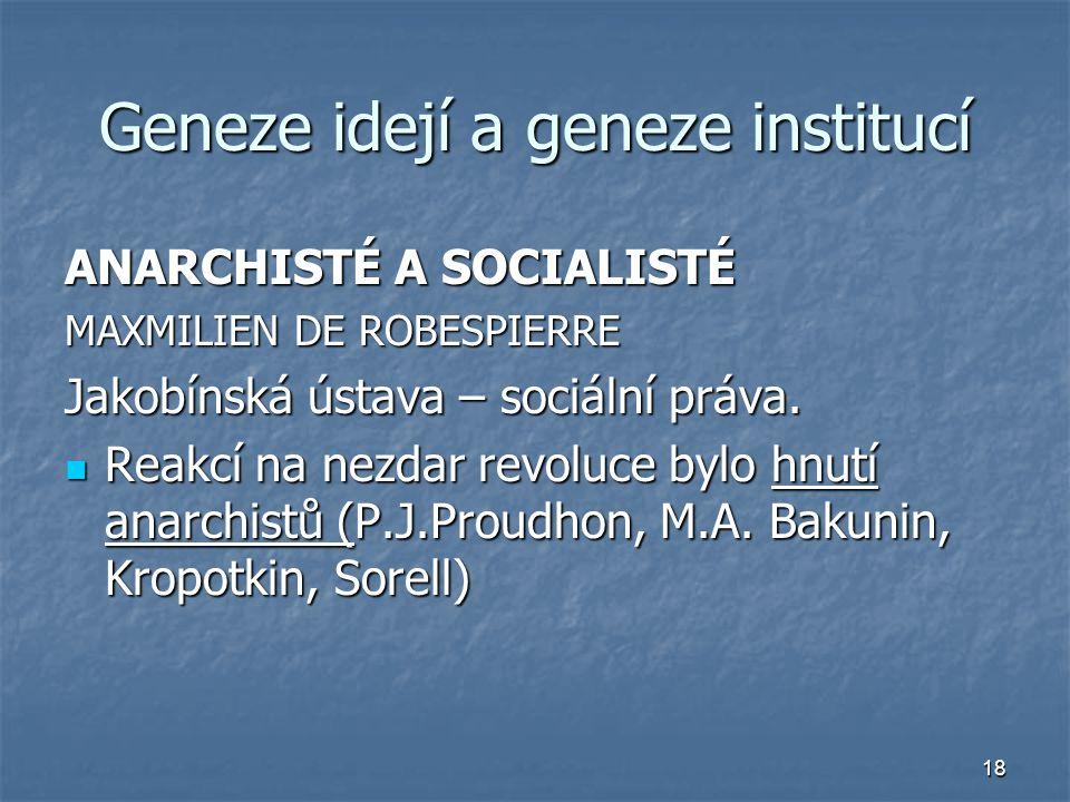 18 Geneze idejí a geneze institucí ANARCHISTÉ A SOCIALISTÉ MAXMILIEN DE ROBESPIERRE Jakobínská ústava – sociální práva. Reakcí na nezdar revoluce bylo