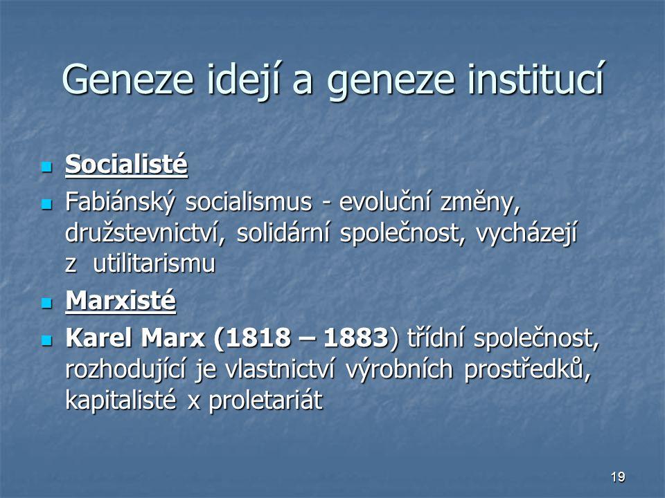 19 Geneze idejí a geneze institucí Socialisté Socialisté Fabiánský socialismus - evoluční změny, družstevnictví, solidární společnost, vycházejí z uti