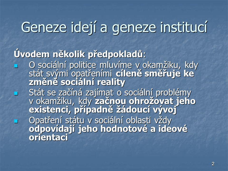 2 Geneze idejí a geneze institucí Úvodem několik předpokladů: O sociální politice mluvíme v okamžiku, kdy stát svými opatřeními cíleně směřuje ke změn