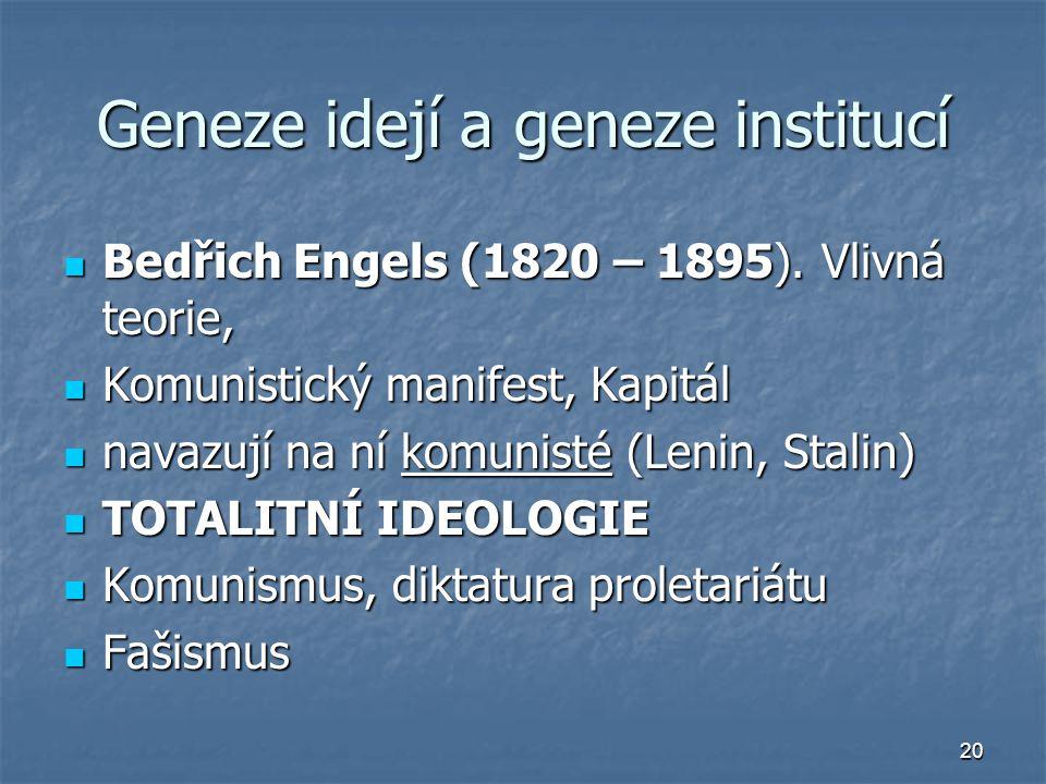 20 Geneze idejí a geneze institucí Bedřich Engels (1820 – 1895). Vlivná teorie, Bedřich Engels (1820 – 1895). Vlivná teorie, Komunistický manifest, Ka