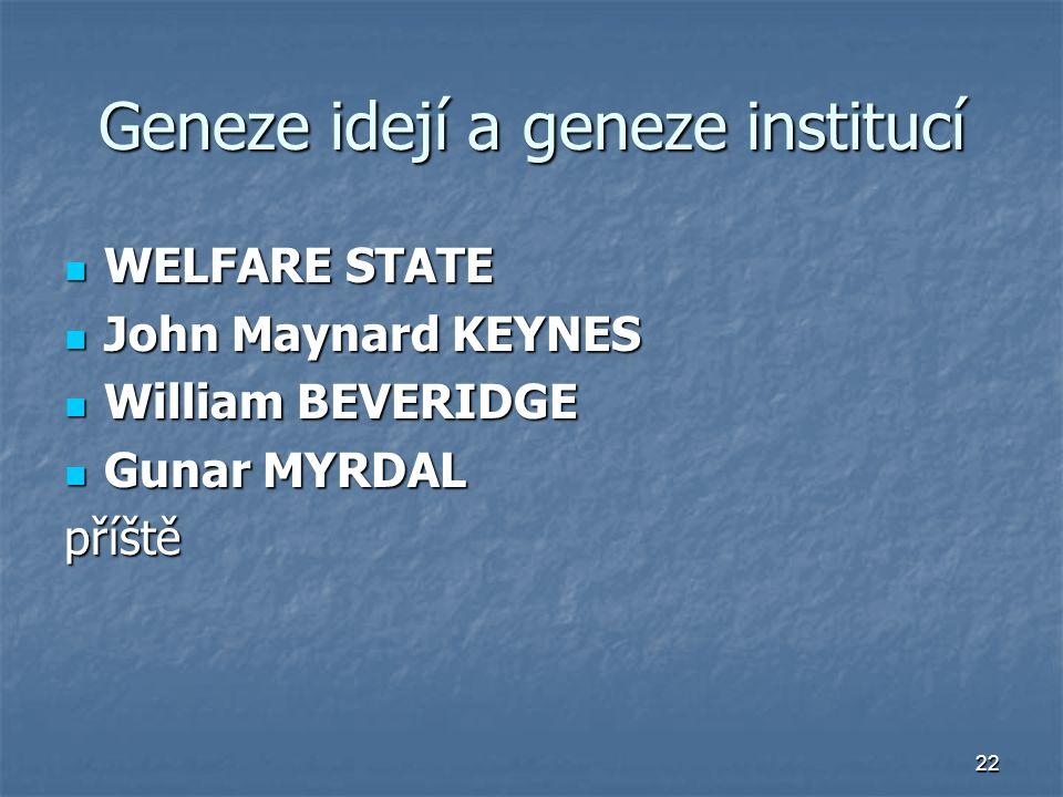 22 Geneze idejí a geneze institucí WELFARE STATE WELFARE STATE John Maynard KEYNES John Maynard KEYNES William BEVERIDGE William BEVERIDGE Gunar MYRDA