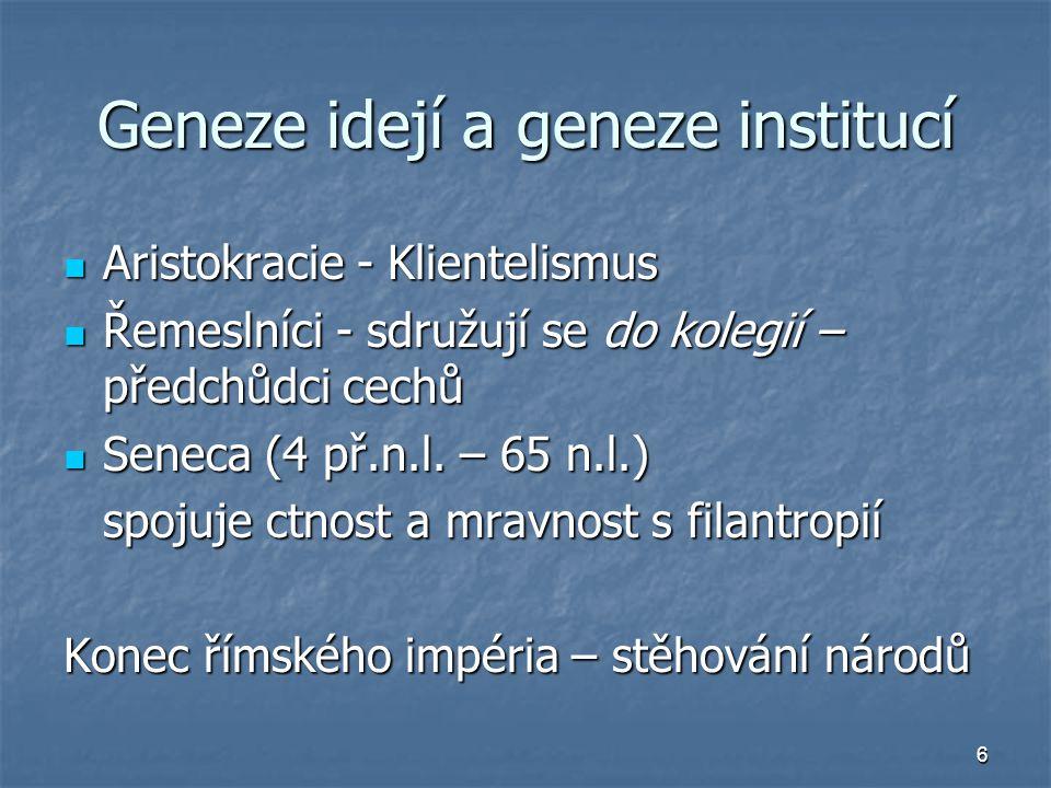 6 Geneze idejí a geneze institucí Aristokracie - Klientelismus Aristokracie - Klientelismus Řemeslníci - sdružují se do kolegií – předchůdci cechů Řem