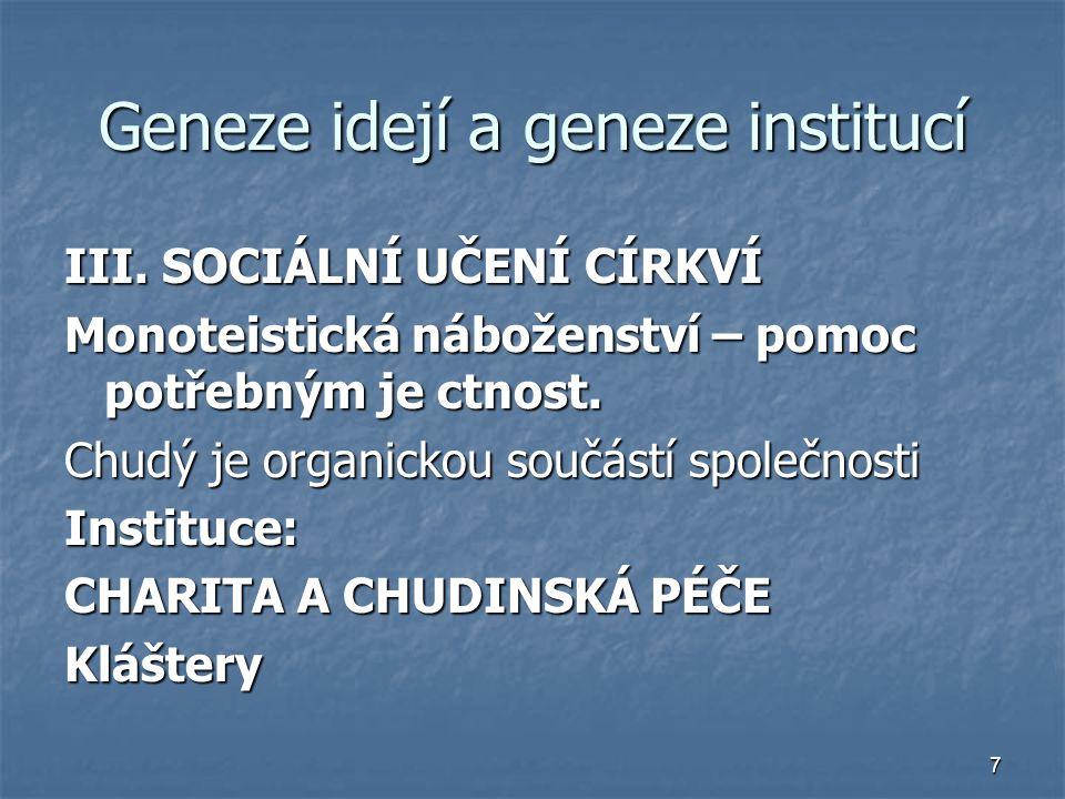 7 Geneze idejí a geneze institucí III. SOCIÁLNÍ UČENÍ CÍRKVÍ Monoteistická náboženství – pomoc potřebným je ctnost. Chudý je organickou součástí spole