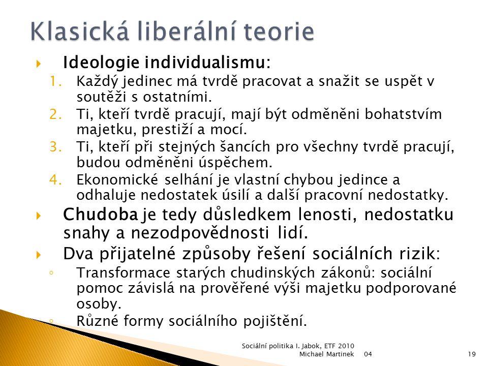  Ideologie individualismu: 1.Každý jedinec má tvrdě pracovat a snažit se uspět v soutěži s ostatními. 2.Ti, kteří tvrdě pracují, mají být odměněni bo