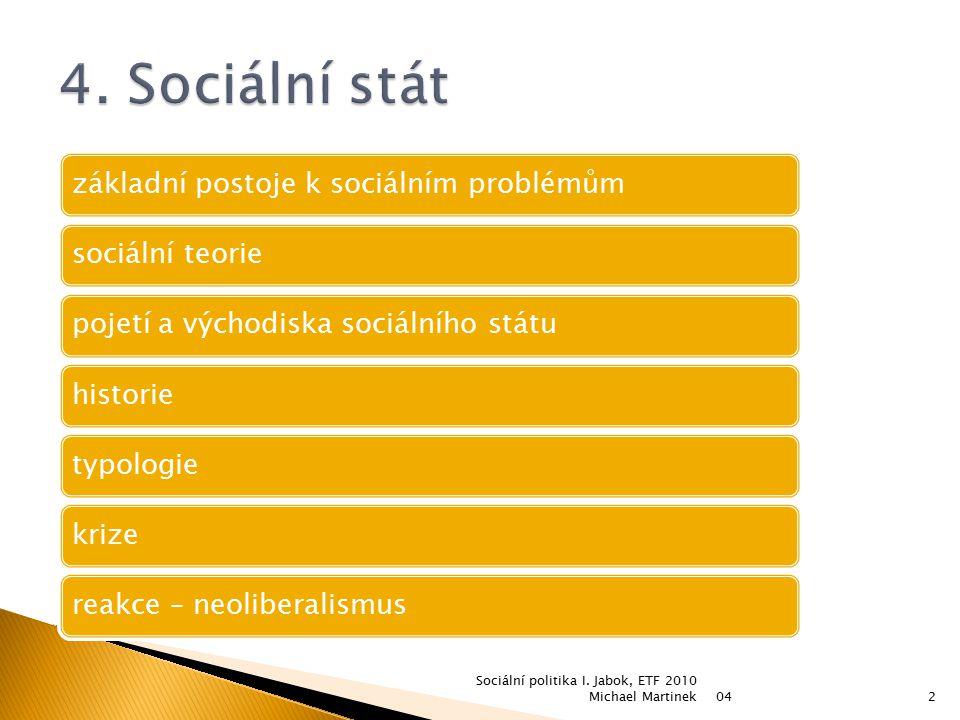 042 Sociální politika I. Jabok, ETF 2010 Michael Martinek základní postoje k sociálním problémůmsociální teoriepojetí a východiska sociálního státuhis