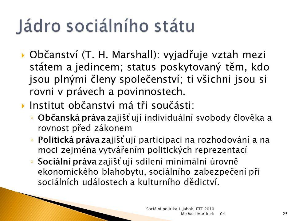  Občanství (T. H. Marshall): vyjadřuje vztah mezi státem a jedincem; status poskytovaný těm, kdo jsou plnými členy společenství; ti všichni jsou si r